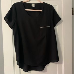 BOGO FREE! Black Zip Side Chiffon Shirt